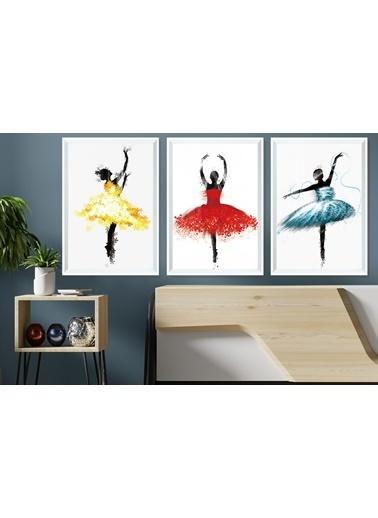 Çerçeve Home  Ballerina Girls Beyaz Çerçeve Tablo Seti Beyaz